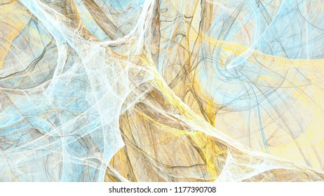 Abstract painting blue and yellow color texture. Soft artistic background. Fine pattern. Fractal artwork for creative graphic design