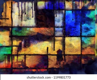 Abstract painting. Brush strokes in muted colors. Mondrian style. 3D rendering