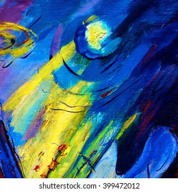 abstract painting by oil on canvas on a space theme, illustration