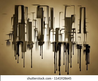 Abstract painting. City shapes drips down. 3D rendering
