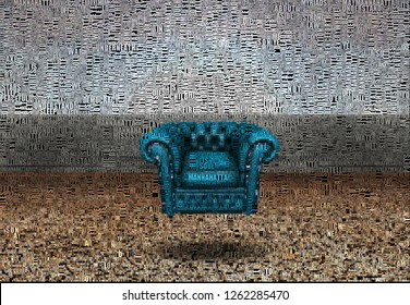 Abstract painting. Coach under water. Image composed entirely of words, text. 3D rendering
