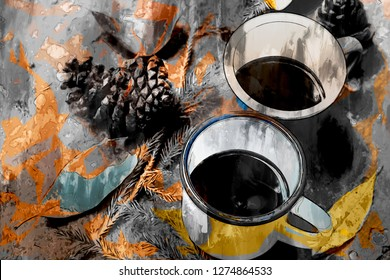 Abstract painting of coffee mug, leaf and pine cones, digital painting illustration