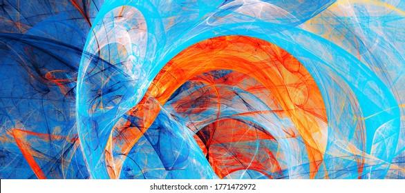 Abstrakte Farbtextur. Blau und Orange Muster. Farbiger Hintergrund. Fractal-Kunstwerke für kreatives Grafikdesign
