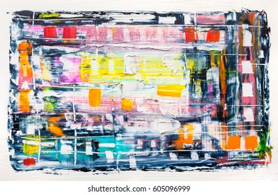 Abstract painting color texture. Bright artistic background in red and yellow