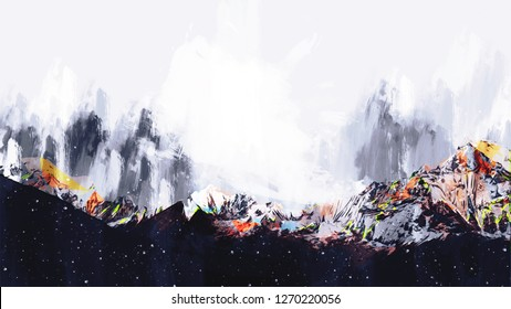 Abstract painting of colorful mountains, Digital painting