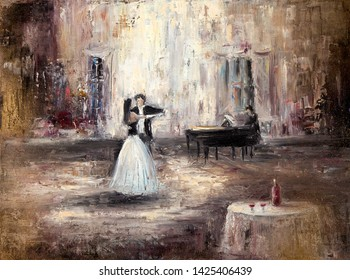 Abstract painting of couple dancing tango or waltz on live piano music  on canvas.Modern Impressionism, modernism,marinism