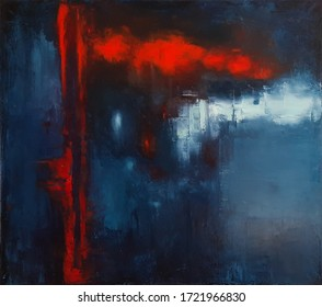 Abstract painting in deep blue, red and white colors. Original artwork, oil on canvas