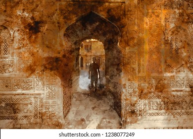 Abstract painting of doors in warm tone, digital watercolor painting