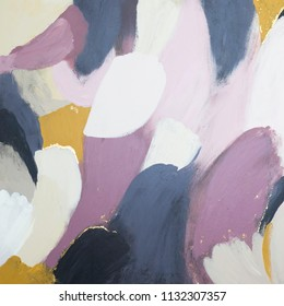Abstract painting- dusty rose, dusty blue, mustard and black brush strokes with gold accents