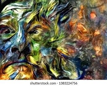 Abstract painting. The Face of Nature. 3D rendering