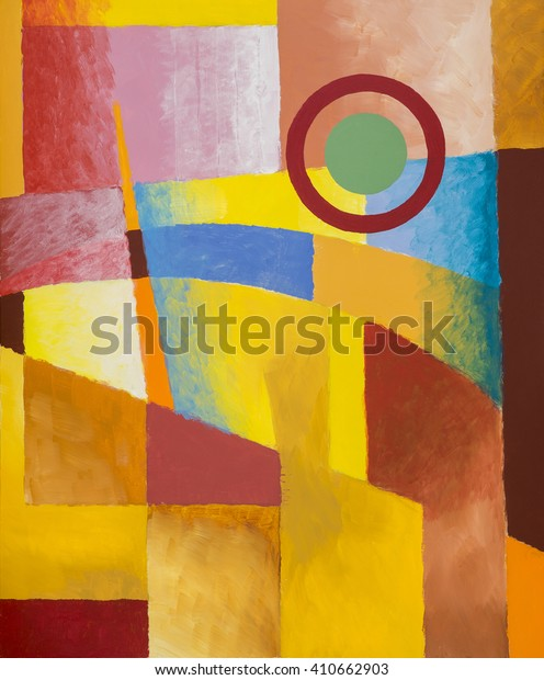An abstract painting; geometric abstraction with mostly warm colour with a suggestion of architecture