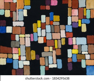 An abstract painting; geometric shapes in an irregular grid on a black background, roughly executed.