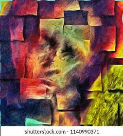 Abstract painting. Ghost face. Square overlapping layers. 3D rendering