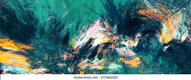 Abstrakte Malerei grüner Farbe Textur. Modernes Farbmuster. Heller Hintergrund. Fractal-Kunstwerke für kreatives Grafikdesign