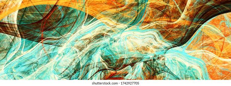 Abstrakte Malerei grün und rot Textur. Heller künstlerischer Hintergrund. Schönes Muster. Fractal Artwork für kreatives Grafikdesign