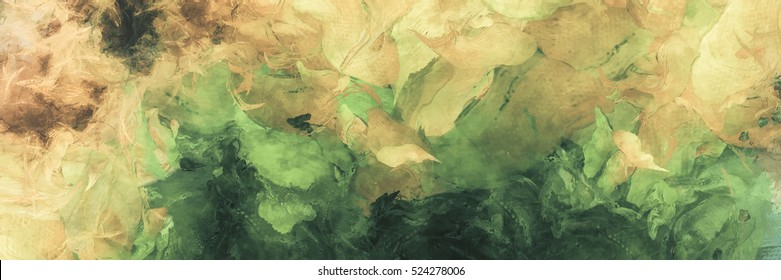Abstract Painting. Green and Yellow Colors