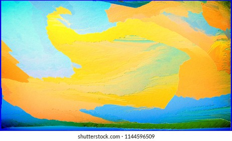 Abstract painting for a home interior in blue and orange colors. Effect of superposition of layers and 3D. Wall painting with a pattern. Paradoxical, Pure and Chief.