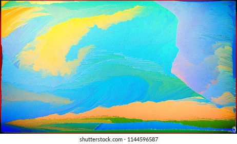 Abstract painting for a home interior in blue and orange colors. Effect of superposition of layers and 3D. Wall painting with a frame. Wallpaper, Fantasy and Morning.