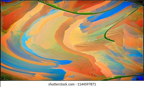 Abstract painting for a home interior in blue and orange colors. Effect of superposition of layers and 3D. Wall painting with a frame. Elegant, Object and Fashion.