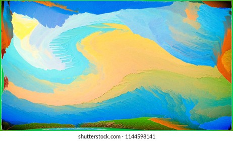 Abstract painting for a home interior in blue and orange colors. Effect of superposition of layers and 3D. Wall painting with a pattern. Decoration, Wave and Paradoxical.