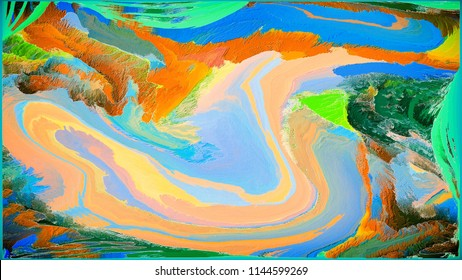 Abstract painting for a home interior in blue and orange colors. Effect of superposition of layers and 3D. Wall painting with a frame. Gradient, Artwork and Grunge.