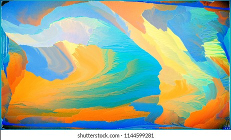 Abstract painting for a home interior in blue and orange colors. Effect of superposition of layers and 3D. Wall painting in the office of the director. Hidden, Thoughts and Colored.