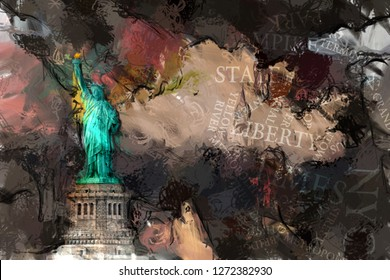 Abstract painting. Liberty statue. 3D rendering