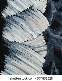 An abstract painting with lightly colored curved strokes forming a ropelike image.
