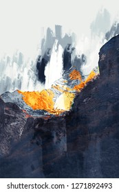 Abstract painting of mountain in dark tone , Digital painting