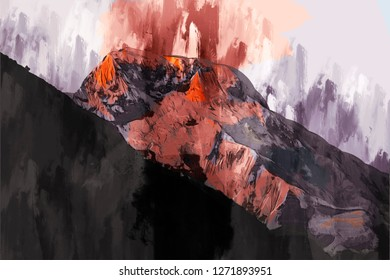 Abstract painting of mountain in hot tone , Digital painting