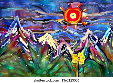 Abstract painting, mountain landscape with flowers. 3D rendering