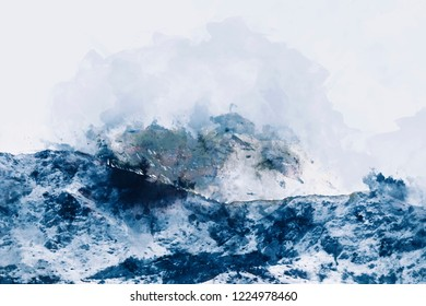 Abstract painting of mountain ranges in blue tone, Digital watercolor painting