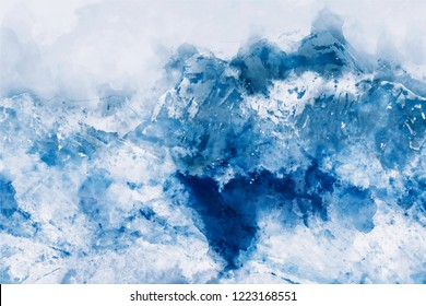 Abstract painting of mountains in blue tone, Digital watercolor painting