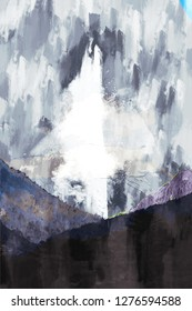 Abstract painting of mountains in cool tone , Digital painting