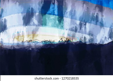 Abstract painting of mountains in dark tone , Colorful digital painting