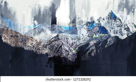 Abstract painting of mountains in dark tone , Digital painting