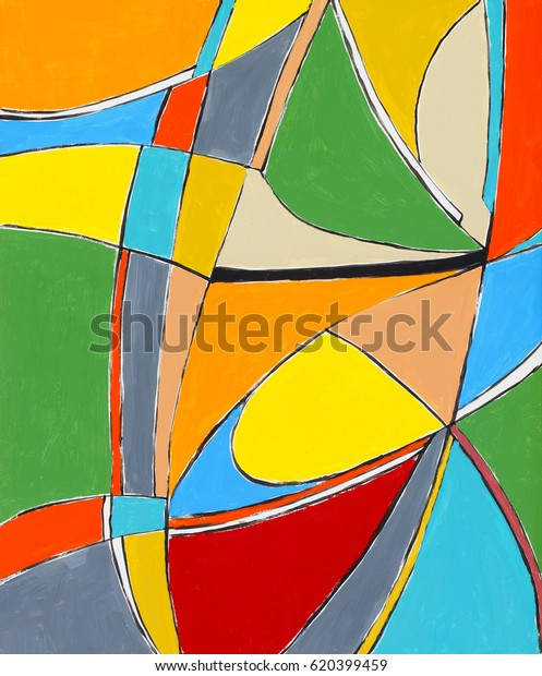 Abstract Painting Multicolored Shapes Stock Illustration