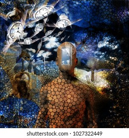 Abstract painting. Naked man with opened door to another world instead of his face. Other dimensions. Winged clocks represents flow of time. 3D rendering