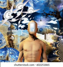Abstract painting. Naked man with opened door to another world instead of his face. Other dimensions. Winged clocks represents flow of time.   3d render.   Some elements provided courtesy of NASA