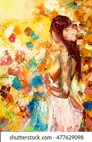 Abstract painting of naked woman with flower in her hair on canvas.Modern Impressionism, modernism,marinism