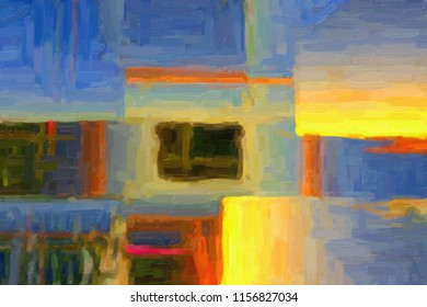 Abstract painting in oil paints. Digital painting