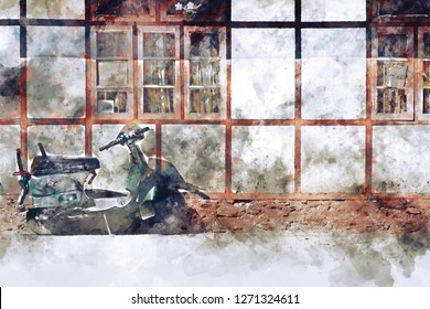 Abstract painting of old motorcycles in vintage tone, digital watercolor painting