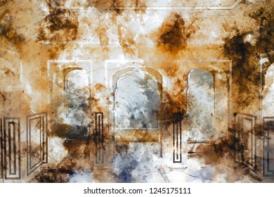 Abstract painting of old palace with doors in warm tone, digital watercolor painting