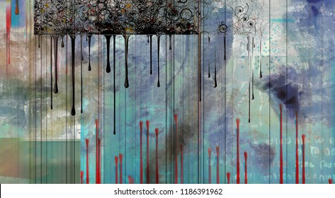 Abstract Painting. Paint drops on blueprint. 3D rendering
