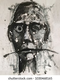 Abstract painting portraying a face.