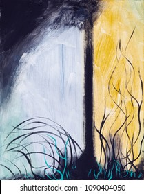 An abstract painting; a tree with foreground frond-like forms and coarse brushwork.