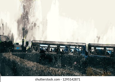Abstract painting of vintage train with smoke, digital painting
