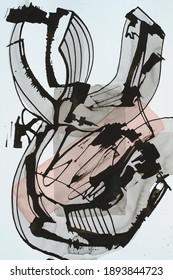 An abstract painting, watercolor and ink on paper; linear elements roughly executed with a cola pen.