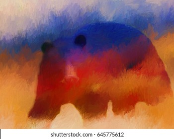 Abstract painting of a wild Pennsylvanian black bear