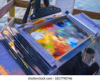 Abstract of palette and paint brushes in outdoor setup of a landscape artist about to start a coastal scene, with digital painting effect, for concepts of creation, art, beginnings. 3D rendering.